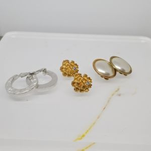 1 pr Avon Clip Earrings & 2 pairs Vintage Earrings